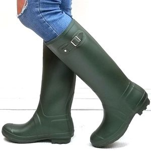 New Olive Slim Calf Knee High Tall Rain Boots